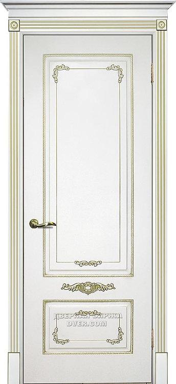 Дверь Смальта 09 Белый ral 9003 патина золото