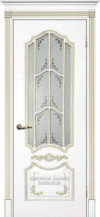 Дверь Смальта 10 Стекло Белый ral 9003 патина золото