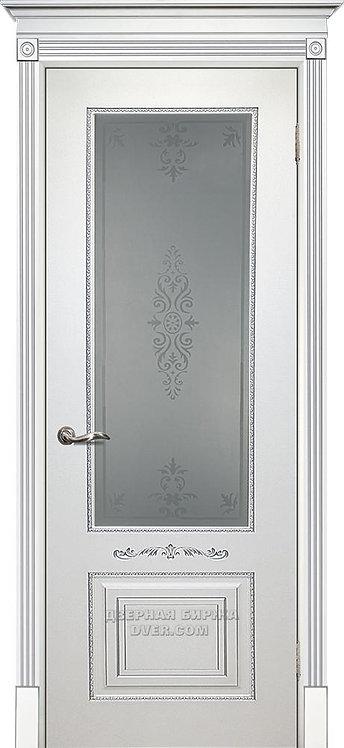 Дверь Смальта 04 Стекло Белый ral 9003 патина серебро Стекло