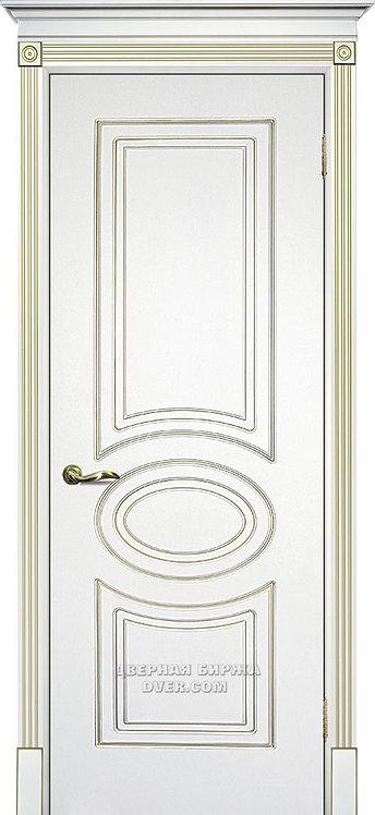 Дверь Смальта 03 Белый ral 9003 патина золото