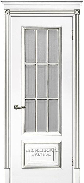 Дверь Смальта 08 Стекло Белый ral 9003 патина серебро