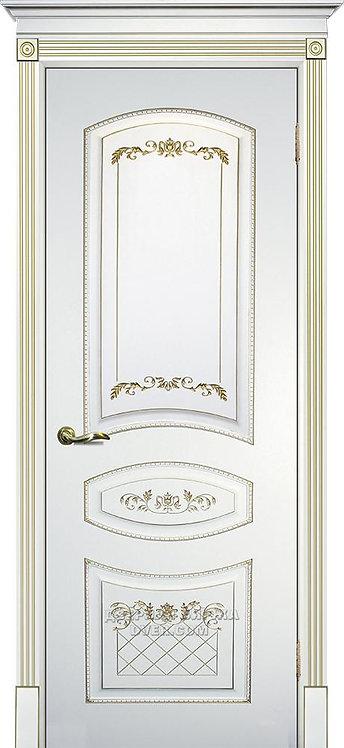 Дверь Смальта 05 Белый RAL 9003 Патина золото