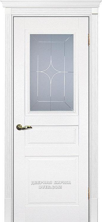 Дверь Смальта 01 Молочный ral 9010 Стекло