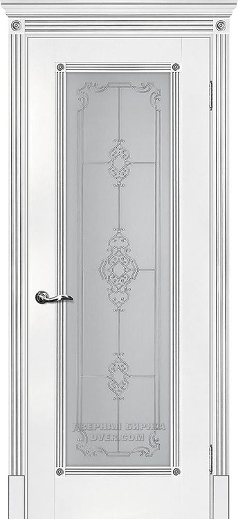 Дверь Флоренция-1 белый, патина серебро