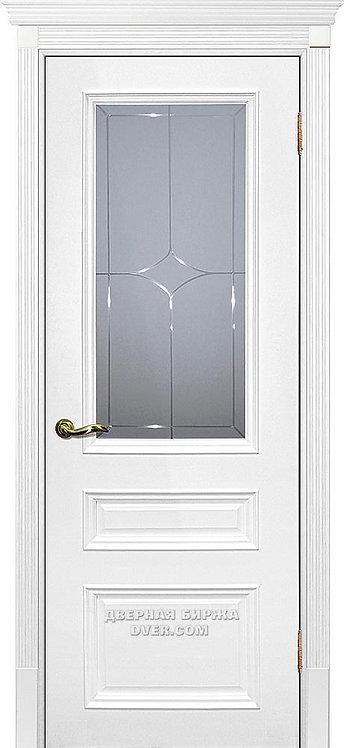 Дверь Смальта 06 Молочный ral 9010 Стекло