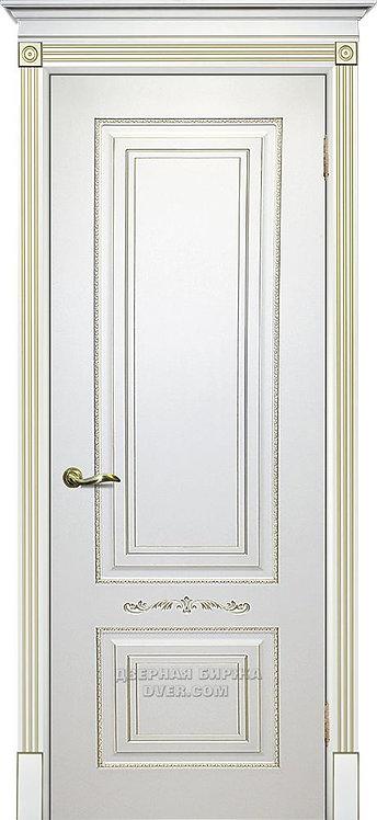 Дверь Смальта 04 Белый ral 9003 патина золото