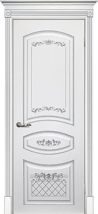 Дверь Смальта 05 Белый ral 9003 патина серебро