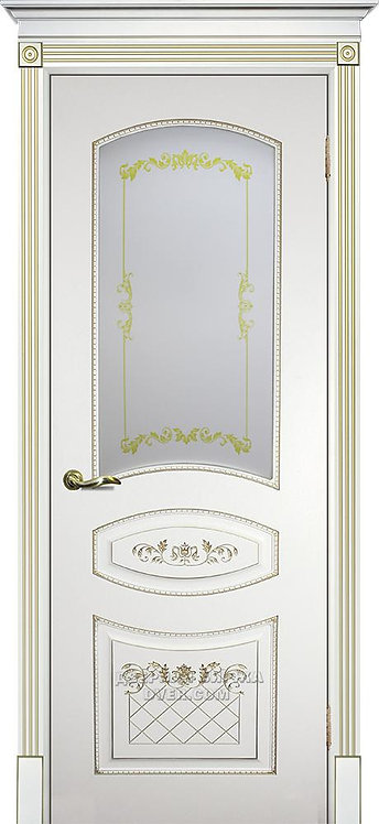 Дверь Смальта 05 Стекло Белый ral 9003 патина золото