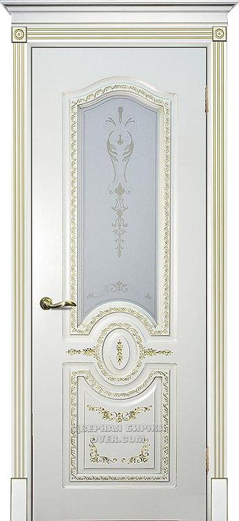 Дверь Смальта 10 Слоновая кость ral 1013 патина золото Стекло