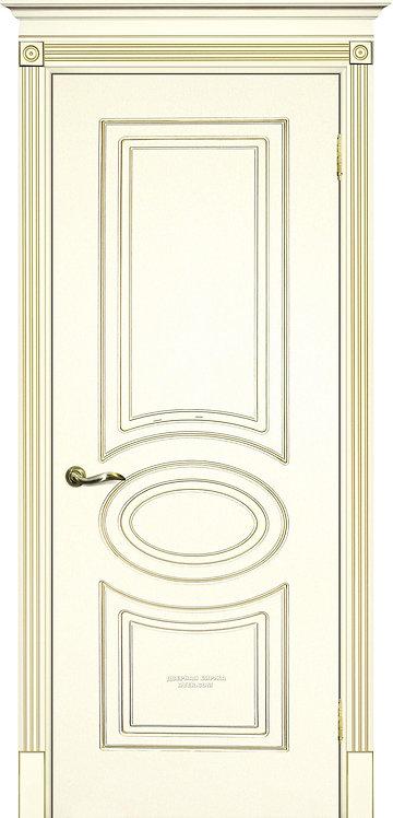 Дверь Смальта 03 Слоновая кость ral 1013 патина золото