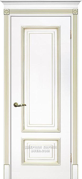 Дверь Смальта 08 Белый ral 9003 патина золото