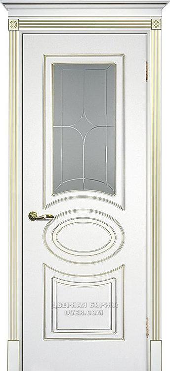 Дверь Смальта 03 Белый ral 9003 патина золото Стекло