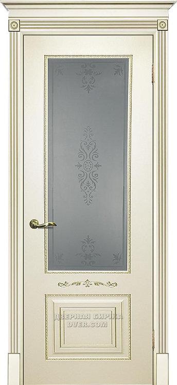 Дверь Смальта 04 Стекло Слоновая кость ral 1013 Стекло патина золото