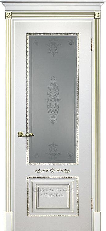 Дверь Смальта 04 Стекло Белый ral 9003 патина золото