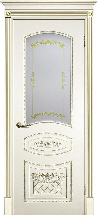 Дверь Смальта 05 Стекло Слоновая кость ral 1013 Патина Золото