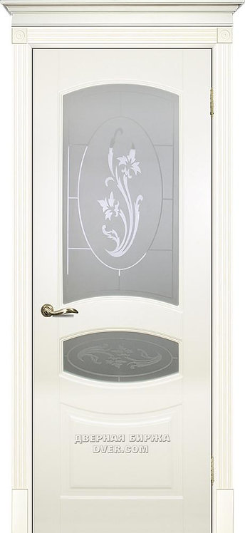 Дверь Смальта 02 Стекло Слоновая кость ral 1013