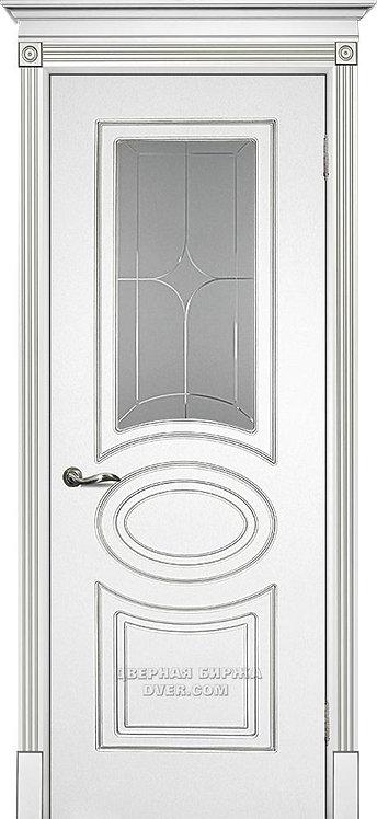 Дверь Смальта 03 Белый ral 9003 патина серебро