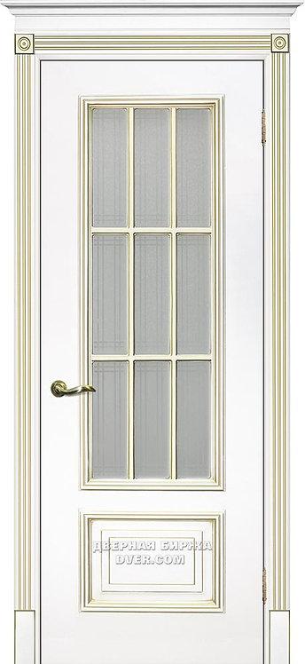 Дверь Смальта 08 Стекло Белый ral 9003 патина золото