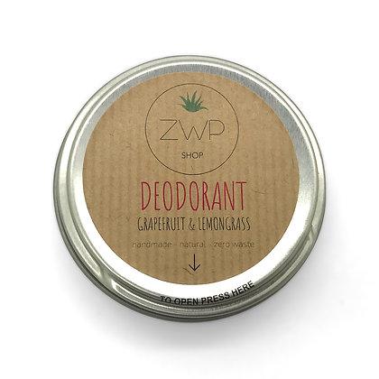 ZWP Natural Deodorant - Grapefruit and Lemongrass