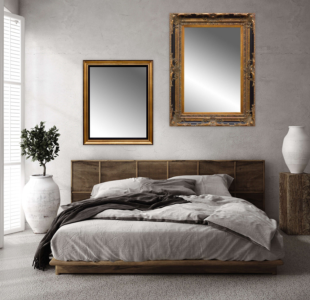 different frame styles and sizes for modern farmhouse bedroom