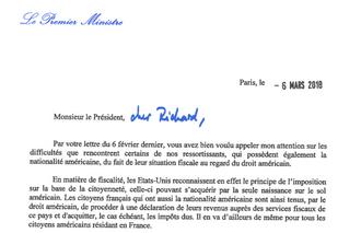 FATCA : Réponse du Premier Ministre au courrier de Richard Ferrand  sur les Américains accidentels