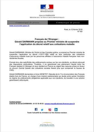 Suspension de l'application du décret  relatif au taux particulier des cotisations d'assurance malad