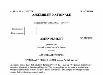Amendement pour que les agents contractuels recrutés sur place dans les services de l'État à l'étran