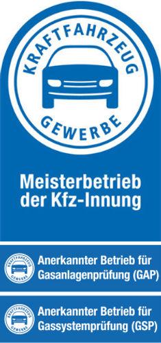 Logo Meisterbetrieb Kfz-Innung, Anerkannter Betrieb für Gasanlagenprüfung (GAP), Anerkannter Betrieb