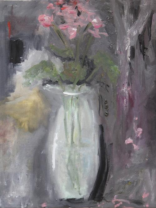 Vase with geraniums