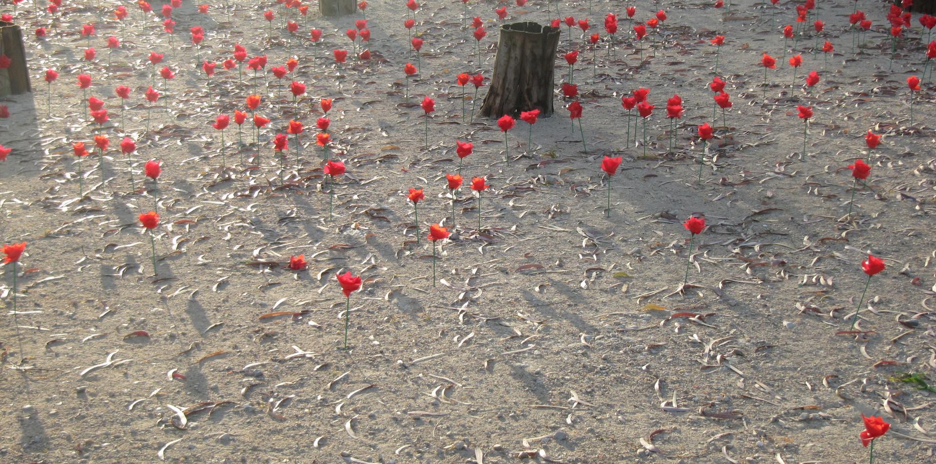 Dead space, tree bark, artificial flowers, water , 2014