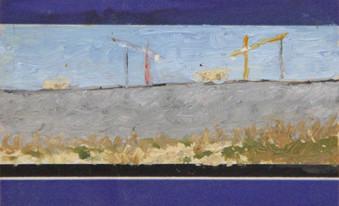 Fleeting landscape,Oil on a train ticket, 54/85 mm, 2014