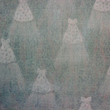 Wallpaper,pencil, chalk and acrylic on canvas, 52/60 cm, 1995