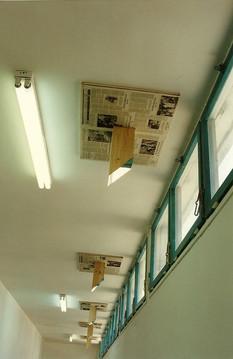 Blind spot test      wood, mirrors, News paper, 1996 