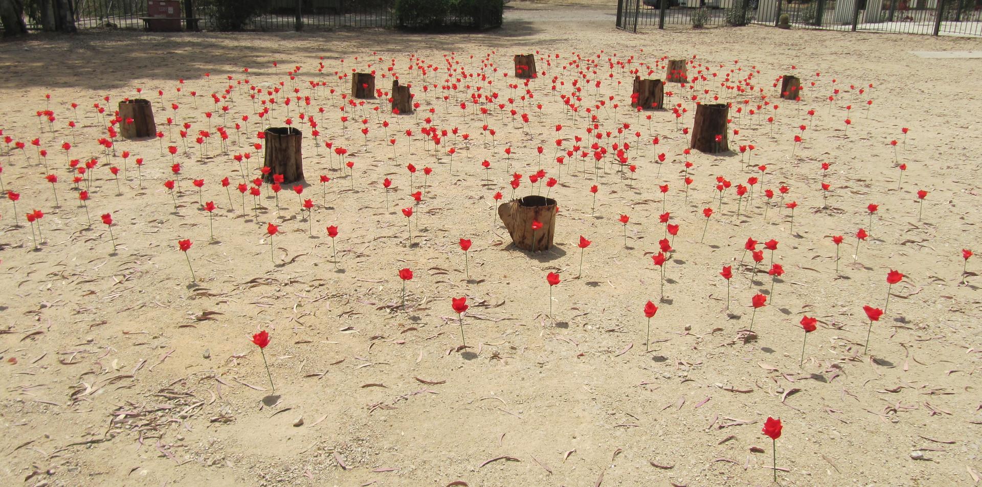 Dead space,tree bark, artificial flowers, water , 2014