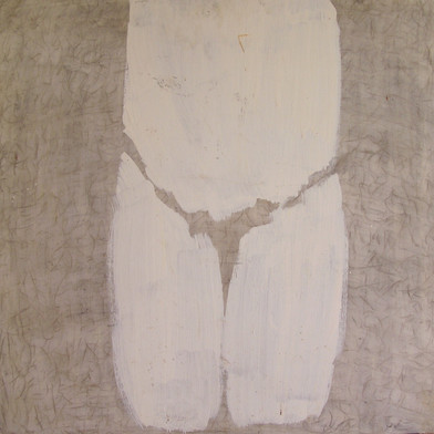 A naked pray, acrilic and charcoal on plywood' 60/60 cm, 1993