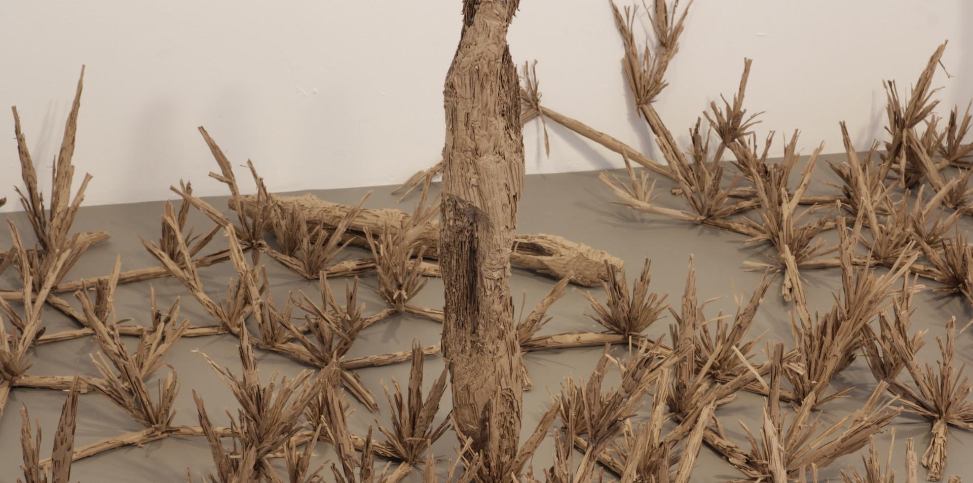 Land corrugated cardboard, 300 / 300 / 100 cm, 2017 
