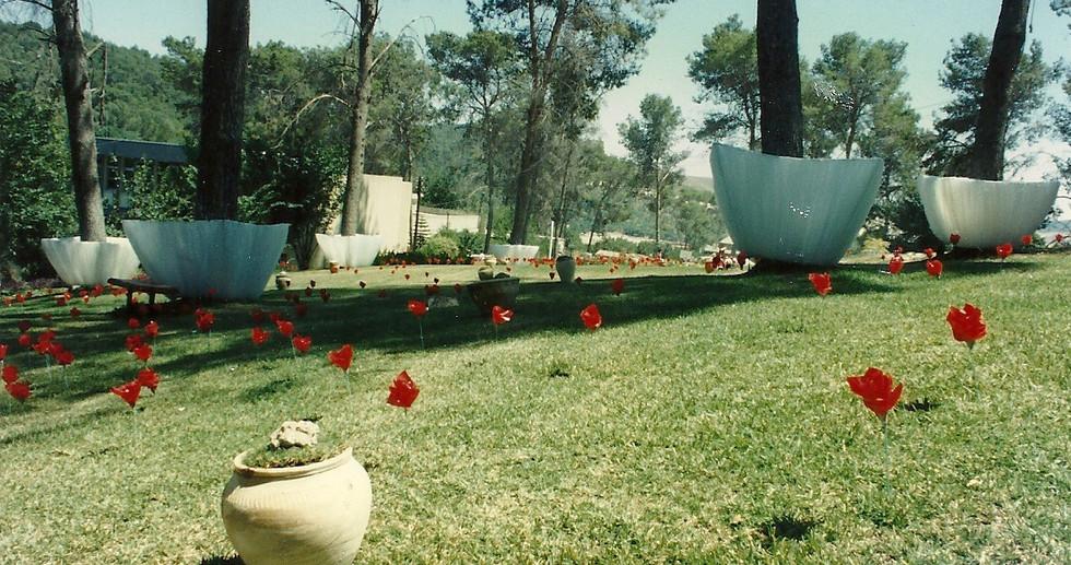 The reserve, plastic sheets, artificial flowers, pottery jug, grass mats