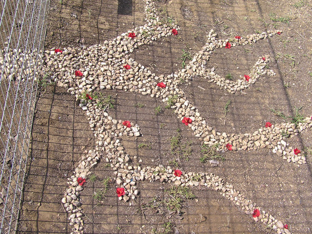 Local tree (detail) stones & artificial flowers, 2012