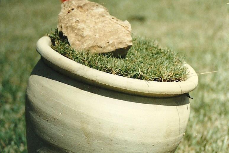 The reserve (detail), plastic sheets, artificial flowers, pottery jug, grass mats