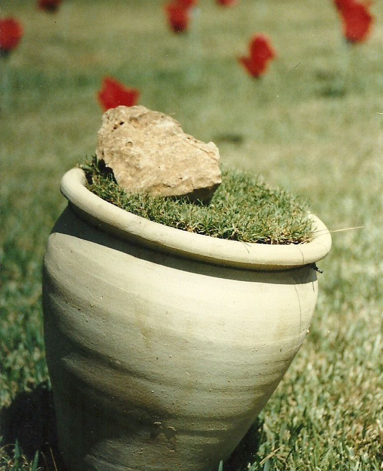 The reserve (detail), plastic sheets, artificial flowers, pottery jug, grass mats