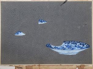 The Japanese set - Plate, oil on Israel atlas cover, 34 / 26 cm, 2018