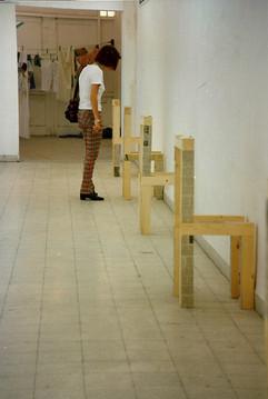 Blind spot test,wood, mirrors, news paper, 1996 