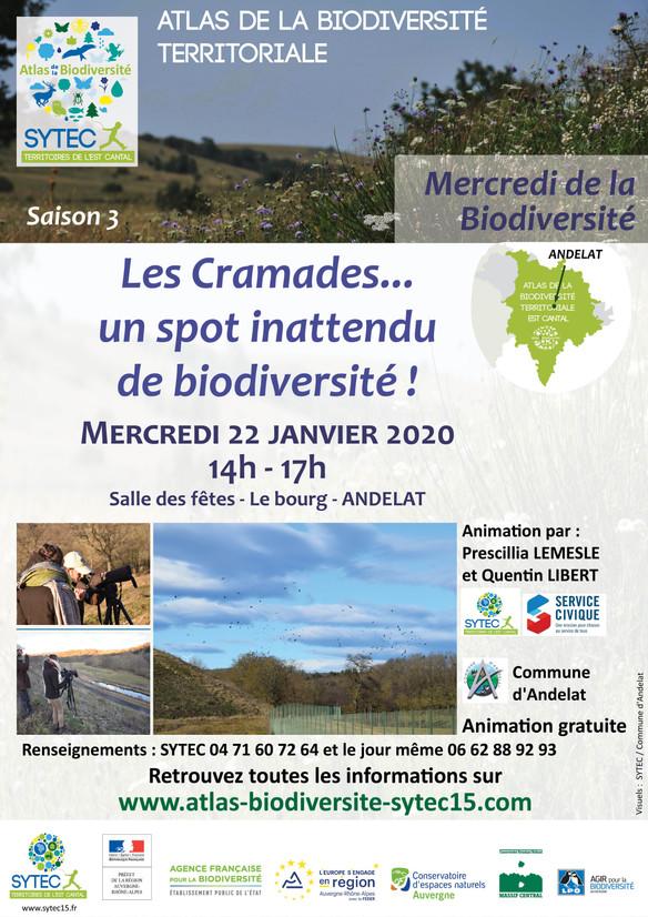 LES MERCREDIS DE LA BIODIVERSITE - 22 janvier 2020 -  Les Cramades... un spot inattendu de Biodivers