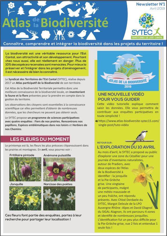 Découvrez la nouvelle Newsletter de l'Atlas de la Biodiversité !