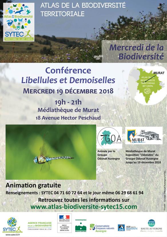 Conférence « Libellules et Demoiselles » à Murat le 19 décembre 2018