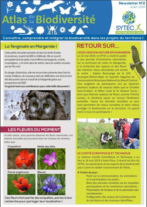 La seconde newsletter de l'Atlas de la Biodiversité est sortie !