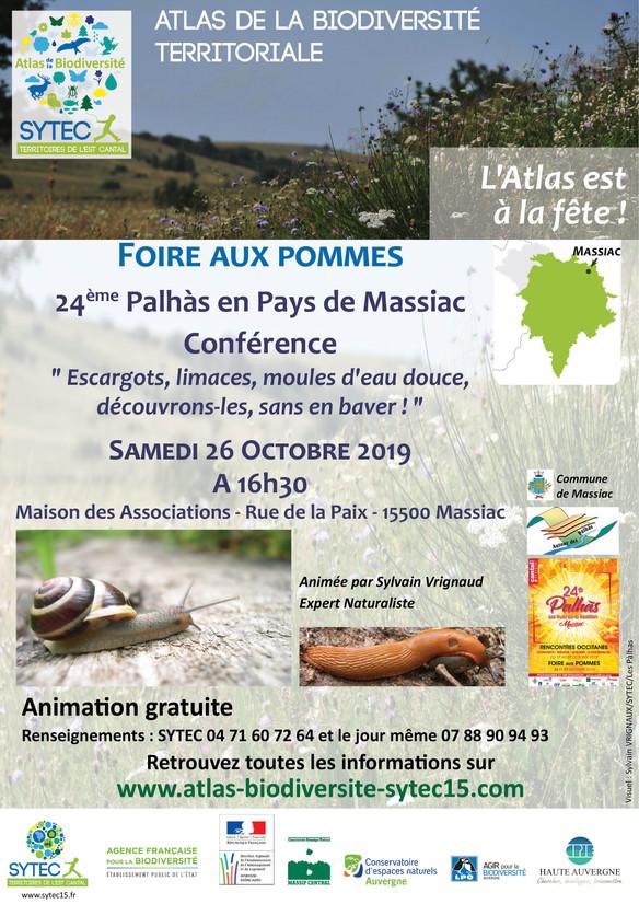 Conférence « Escargots, limaces et moules d'eau douce d'Auvergne, Découvrons-les, sans en baver ! »