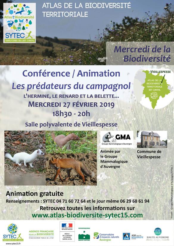 """Venez participez à l'animation """"Prédateurs du campagnol / L'hermine, le renard et la be"""
