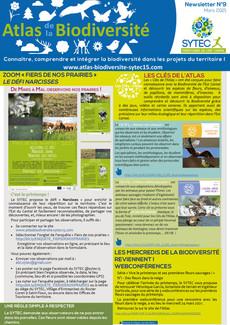ATLAS DE LA BIODIVERSITE : la Newsletter n°9 est parue !