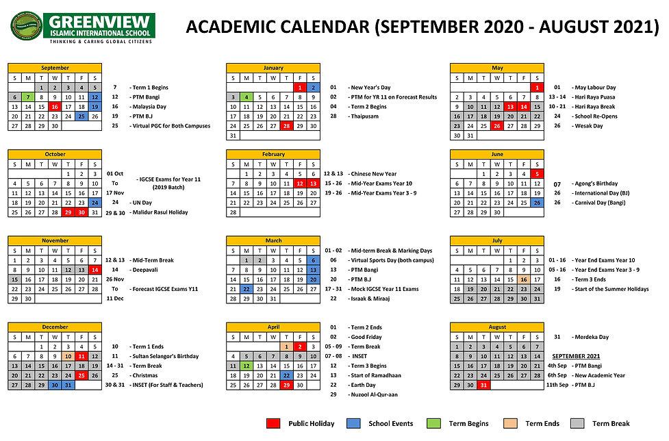 NEW ACADEMIC CALENDAR SEPTEMBER 2020 - A